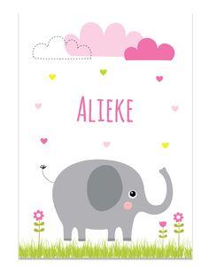 Poster met olifantje