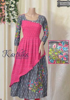 pink grey ikkat kurthi with embroidery. call or whatsapp at 09483056990 www. Salwar Designs, Pattu Saree Blouse Designs, Kurta Designs Women, Kurti Neck Designs, Dress Neck Designs, Kalamkari Dresses, Ikkat Dresses, Frock Design, Saree Designs Party Wear