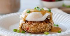 Crab Cake Eggs Benedict with Bacon Hollandaise | KitchenDaily.com