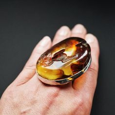 40g. Huge Unique Baltic Amber Ring