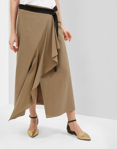 Techno cotton poplin Maxi skirt