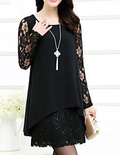 Bayanlar Büyük Bedenler Büyük Beden Elbise Solid Diz üstü Yuvarlak Yaka Şifon / Dantel