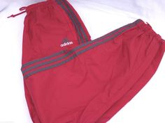 SOLD  Adidas Athletic Pants Nylon Shell Mens L Burgundy Gray Zip Legs Cuffs 2 Pockets #Adidas #Pants