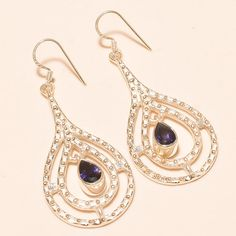 92.5% SOLID STERLING SILVER SPARKLING PEAR SHAPE FACETED IOLITE EARRING 6.20 CM #Handmade