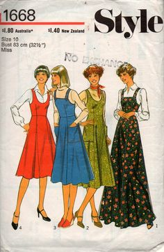 Style 1668 Womens Pinafore Dress in 4 Lengths 70s Vintage Sewing Pattern Size 10 Bust 32 1/2 inches