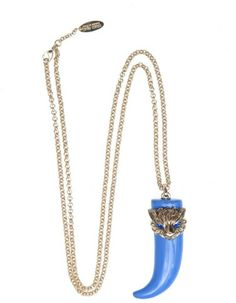 Roberto Cavalli Blue Parrot and Horn Necklace