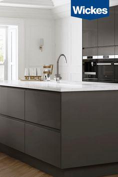 Contemporary Kitchen Cabinets, Modern Kitchen Design, New Kitchen Diy, Kitchen Decor, Kitchen Pantry Cabinets, Kitchen Tiles, Grey Gloss Kitchen, Kitchen Diner Extension, Kitchen Utilities