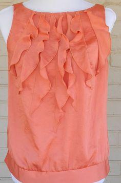 Ann Taylor Loft Silk Tank Top Ruffles Peach Womens Size Medium Petite #AnnTaylorLOFT #TankCami #Career