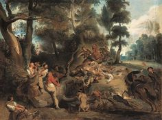 The Wild Boar Hunt, after a painting by Rubens by Eugène Delacroix from Neue Pinakothek, Munich Wild Boar Hunting, Eugène Delacroix, Romanticism Artists, French History, Peter Paul Rubens, Museum, Antique Paint, Realism Art, Art Pages