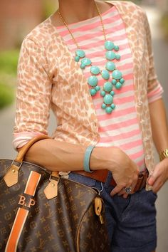 pink striped shirt with pale leopard card. w/turq. jewelry....looks good together