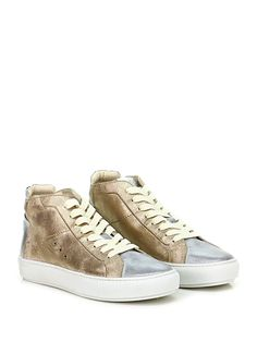 JANET SPORT - Sneakers - Donna - Sneaker in pelle laminata effetto vintage e pelle laminata con suola in gomma. Tacco 35. - PLATINO\SILVER - € 169.00