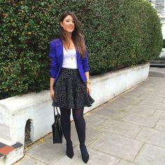 Mimi Ikonn | Blue Klein blazer, skirt, black heels