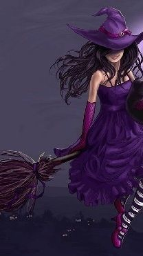 Magick Wicca Witch Witchcraft:  Witch in purple.
