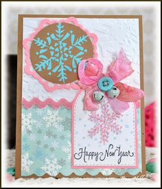 DeNami Design Snowflake Happy New Year card designed by Tammy Hobbs @ Creating Somewhere Under The Sun: Snowflakes and more Snowflakes #snowflakecard,#HappyNewYearcard,#PinkandBlueCard,#DeNamiDesign