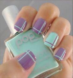 Uñas menta y lila Nails