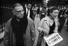 Simone de Beauvoir and Jean-Paul Sartre selling the banned newspaper La Cause Du Peuple, 1970. Photo: Gilles Peress. 1970