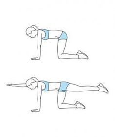 Thebird dog exercisestrengthens your abs and lower back and butt muscles while improving balance. Opposite arm & leg full extension- then switch & repeat!!