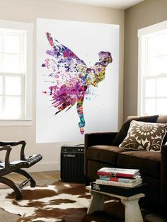 Ballerina on Stage Watercolor 3 Premium Wall Mural
