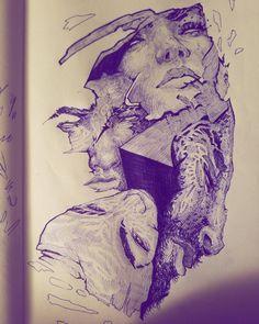 I like to draw with blue pens via /r/Art...