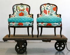 chair reupholster from wild chairy Chair Upholstery, Upholstered Furniture, Chair Fabric, Architectural Digest Show, Old Chairs, Antique Chairs, Vintage Chairs, Funky Chairs, Colorful Chairs