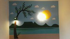 Kids room wall paint. Ikea lamp.  Bird house lamp. Poster style paint. DIY.