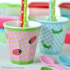 Gorgeous melamine kids cups from RICE DK at www.pinksandgreen.co.uk.  Gorgeous photo by Torie Jayne.