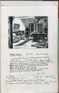 Edward Hopper, page 1 from Artist's ledger—Book III, 1924–67. Ink, graphite, and colored pencil on paper, 12 3/16 × 7 5/8 in. (31 × 19.4 cm). Whitney Museum of American Art, New York; gift of Lloyd Goodrich 96.210a-hhhh || Click picture to see more of this sketchbook via the Whitney site.