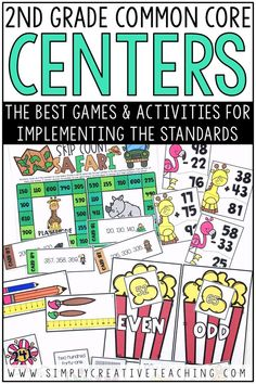 These 2nd grade math centers and stations include games & activities that align with Common Core standards for grade 2. They include second grade place value, measurement, word problems, addition & subtraction, & geometry activities for all 2nd grade standards: 2.OA.1, 2.OA.2, 2.OA.3, 2.OA.4, 2.NBT.1, 2.NBT.2, 2.NBT.3, 2.NBT.4, 2.NBT.5, 2.NBT.6, 2.NBT.7, 2.NBT.8, 2.NBT.9, 2.MD.1, 2.MD.2, 2.MD.3, 2.MD.4, 2.MD.4, 2.MD.5, 2.MD.6, 2.MD.7, 2.MD.8, 2.MD.9, 2.MD.10, 2.G.1, 2.G.2, and 2.G.3.