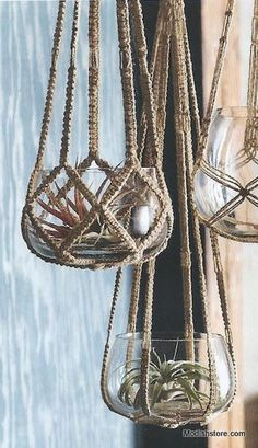 Roost Jute Hanging Planter, Small off Sale! True to era, Roost recycled glass pots rest in intricately woven and knotted jute hangers. Macrame Hanging Planter, Macrame Plant Holder, Hanging Planters, Macrame Design, Macrame Art, Macrame Projects, Macrame Plant Hanger Patterns, Macrame Patterns, Crochet Plant Hanger