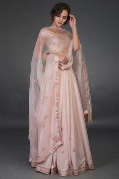 Nude Pink Resham and Gota Patti Hand Embroidered Lehenga - Prom Dresses Design Indian Designer Outfits, Designer Dresses, Designer Wear, Indian Attire, Indian Outfits, Simple Lehenga, Indian Wedding Wear, Punjabi Wedding, Indian Weddings
