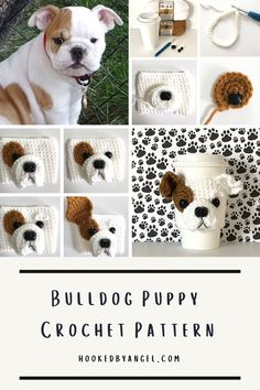 Can you handle the tail wag-worthy cuteness of this Bulldog puppy cozy crochet pattern?! If you are or know a true dog lover you understand why this is a paw-some addition to any cup. You will never have so much fun crocheting! Crochet Coffee Cozy, Crochet Cozy, Quick Crochet Gifts, Coffee Cozy Pattern, Animal Noses, Crochet Dog Patterns, Dog Nose, Coffee Sleeve, Holiday Crochet