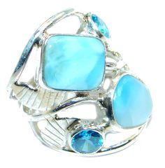 $60.25 Genuine++Larimar++Sterling+Silver+handmade+Ring+size+7 at www.SilverRushStyle.com #ring #handmade #jewelry #silver #larimar