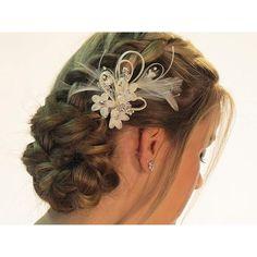 Hair pin em tecido com penas, pérolas e cristais swarovski
