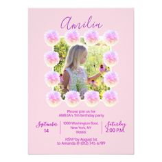 Floral Watercolor Pink Purple Girl BIRTHDAY Party Card - purple floral style gifts flower flowers diy customize unique