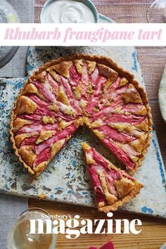 This rhubarb frangipane tart recipe can be made a day ahead, making it an ideal dinner party dessert. Sharp, candy-pink rhubarb is the perfect contrast to the sweet frangipane, and a welcome sight during the winter months Rhubarb Recipes, Tart Recipes, Sweet Recipes, Baking Recipes, Dessert Recipes, Rhubarb Desserts, Punch Recipes, Fruit Recipes, Pumpkin Recipes