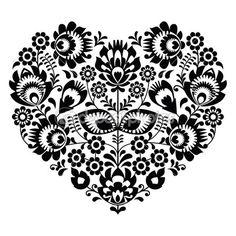 Patrón de corazón de arte popular polaco en negro - wzory lowickie, wycinanka — Ilustración de stock #48544507