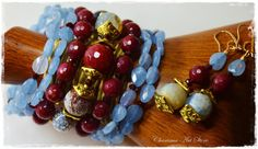 "Blue & Maroon Jewelry set ""Alika"" by Charisma Art Store, wide memory-bracelet and earrings, colored agate, pale-blue aquamarine, maroon ruby by CharismaArtStore on Etsy"