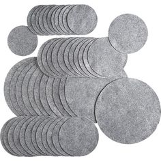 """Set of 48 protectors:   10 usd   Or use as coaster and placemats  12 small (4.5"""" dia.), 24 medium (6"""" dia.), 12 large (10"""" dia.)    TLC for your favorite dinnerware. Felt protectors in a variety of standard sizes rest between pieces to cushion them from shock and prevent dings and scratches.  Grey felt"""