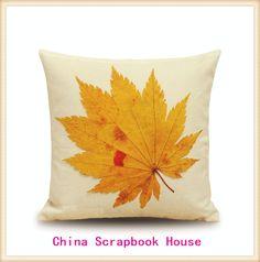 PANFELOU  45*45cm  Comfortable Green yellow maple leaves white base Pillow Case for livingroom bedroom settee #Affiliate