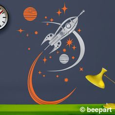 rocket ship wall decal, mid century space ship vinyl art, retro rocket sticker art, boys room