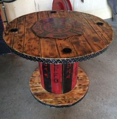 Wooden Spool Fireman's Table