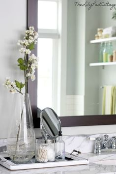 Bathroom Style / Tray on Counter / Glass Jars / Flowers or Greenery