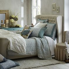 It's OK to pamper yourself in your bedroom retreat. Start with an upholstered headboard and plenty of pillows. #Pier1 #bedroominspiration  Add on our handcrafted Sonali Cutwork Duvet Cover for extra comfort. Find it via our Like2b.uy/Pier1 link in our Instagram profile.