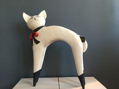 Cat with Red Tie, Wataru Sugiyama ceramic sculpture at Hanson Howard Gallery