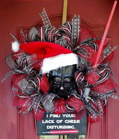 Check out this item in my Etsy shop https://www.etsy.com/listing/474744538/star-wars-christmas-wreath-darth-vader