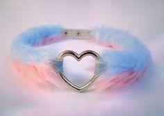 Furry Fluffy Pink Heart Choker Collar Kawaii Fur Punk Necklace Pastel Goth Harajuku PU Leather