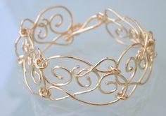 Gold Bracelet  18k Gold Plated   Filigree by MtCarmelJewelry, $61.00