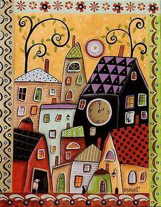 Bright Afternoon ORIGINAL 11x14 inch CANVAS PAINTING Folk Art CITY Karla G