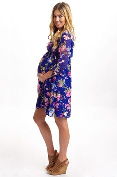 Pink Blush Maternity . Royal-Blue-Floral-3/4-Sleeve-Chiffon-Maternity-Dress