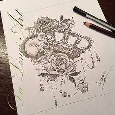 #crown #flowers #roses #tattoo #squirrel #hearts #art
